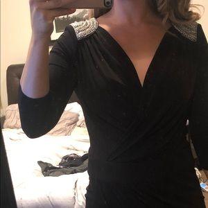 Black cache embellishment dress